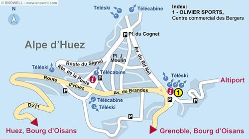Plattegrond Alpe d'Huez