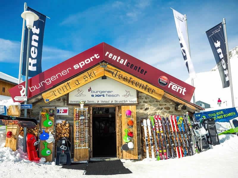 Skiverhuur winkel Burgener Sport, Fiescheralp [direkt neben Luftseilbahn] in Fiesch