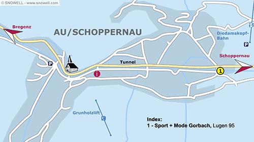 Plattegrond Au/Schoppernau