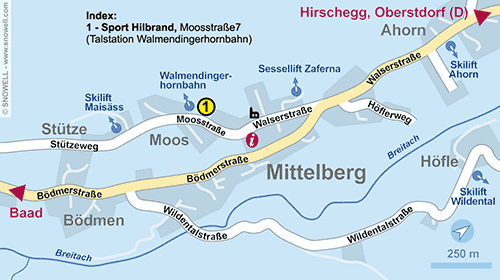 Plattegrond Kleinwalsertal - Mittelberg