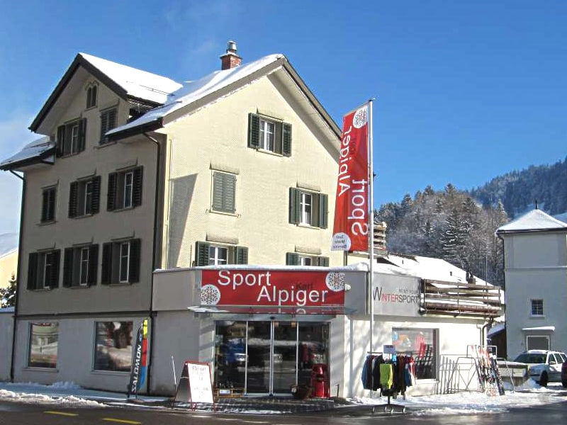 Skiverhuur winkel Sport Karl Alpiger, Talstation Bergbahn in Alt St. Johann