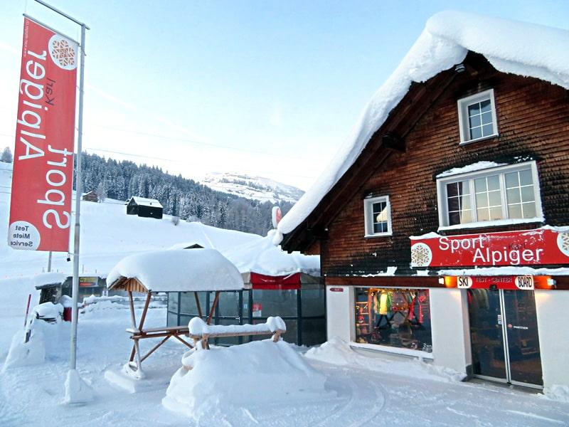 Skiverhuur winkel Sport Karl Alpiger, Talstation Sesselbahn Thur in Wildhaus