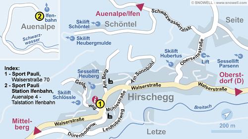 Plattegrond Kleinwalsertal - Hirschegg